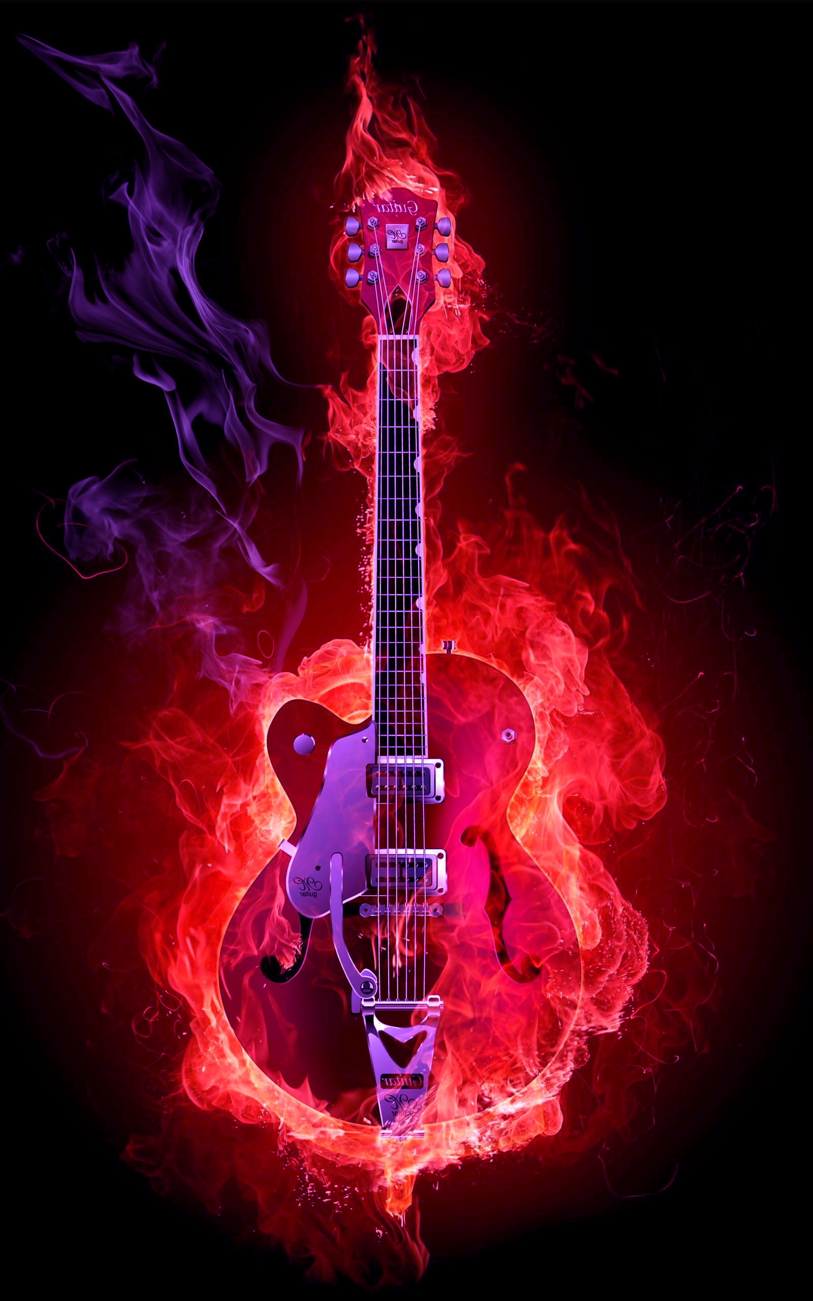 guitar acoustic fire flame - photo #16